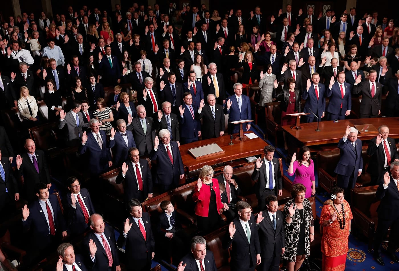 United States Representatives with hands up